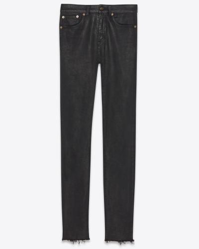 Skinny-Jeans aus schwarzem Stretchdenim in abgenutzter Optik mit ausgefranstem Saum