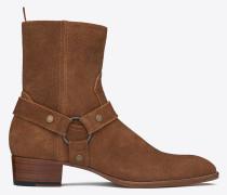 klassischer wyatt 40 zaumzeug-stiefel aus nussbraunem veloursleder