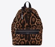 City Mini-Rucksack aus Canvas mit Leoparden-Print Beige