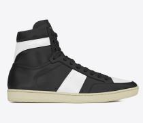 klassischer signature court sl/10h high top sneaker aus schwarzem und optisch weißem leder