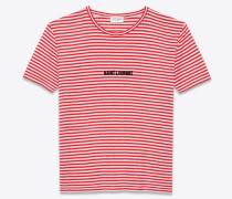 gestreiftes t-shirt aus rotem und weißem jersey mit saint laurent-streifen