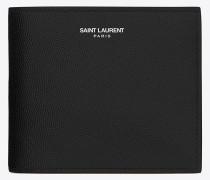klassisches saint laurent paris east/west portemonnaie mit münzfach aus schwarzem leder mit grain de poudre struktur
