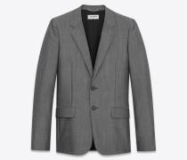 Jackett aus grauer Wolle und Mohair mit zwei Knöpfen