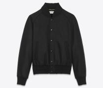 Varsity-Jacke aus schwarzer Wolle