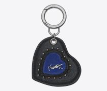 Herzförmiger Schlüsselbeutel mit Lederösen und schwarzem und blauem Veloursleder
