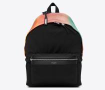 city rucksack aus schwarzem canvas und buntem satin