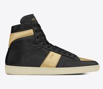 R Signature Court Sl/10h High Top Sneaker aus Schwarzem Leder Goldfarbenem Leder mit Metallic-Optik