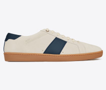 Court Classic SL/01 Sneaker aus cremefarbenem und blauem Leder