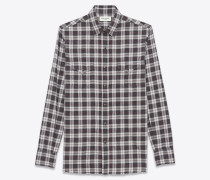 Klassisches Westernhemd aus grauem Baumwollplaid mit Stone-Waschung