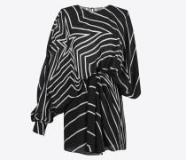 asymmetrisches minikleid mit drapierter seite und schwarz-weißem sternenprint