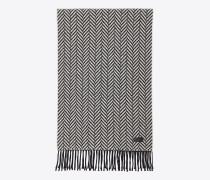 Schal aus elfenbeinfarbenem und schwarzem Woll- und Kaschmirstrick mit Fischgrätenmuster