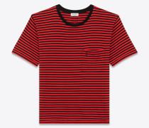 kurzärmeliges t-shirt aus baumwolle mit schwarzem und rotem streifenprint
