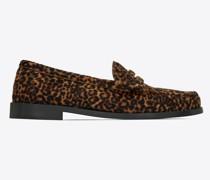 Le Loafer Monogram Penny Slippers mit Leoparden-Print Pony-Effekt Beige