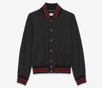 teddy-jacke in schwarz und rot