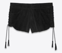 mini-shorts aus schwarzem velours mit kordelzug