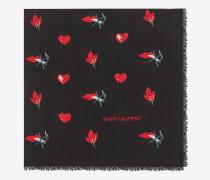Großer, quadratischer Schal aus schwarzem und rotem Wolltwill mit Herz- und Blitzprint