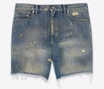 Shorts Im Kalifornien-Stil Destroyed-Look aus Denim In Repaired Dirty Blue Blau