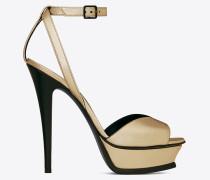 tribute 105 sandale aus goldfarbenem metallic-leder mit offenem zehenbereich