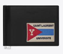 "Saint Laurent Paris Portemonnaie aus schwarzem Leder mit Geldscheinclip ""UNIVERSITÉ""-Patch"