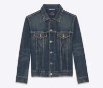 original jeansjacke aus dunkelblauem denim im schmutzigen vintage-stil