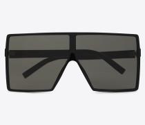 new wave 183 betty sonnenbrille aus glänzend schwarzem acetat mit grauen nylongläsern