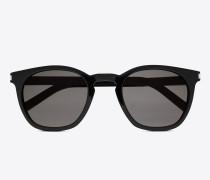 klassische 28 sonnenbrille mit glänzend schwarzem acetat-gestell und grauen gläsern
