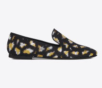 SMOKING 05 MONOGRAM Slipper aus schwarzem, goldfarbenem und silberfarbenem Leoparden-Jacquard