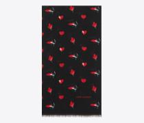 Schal aus schwarzem und rotem Wolltwill mit Herz-, Blitz- und Lippenprint