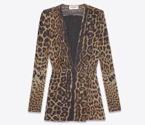 kleid mit tiefem ausschnitt aus mousselin mit schwarzem und braunem leopardentupfenprint
