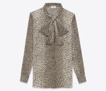 signature lavallière-bluse aus beigefarbenem und schwarzem seidengeorgette mit babycat-aufdruck