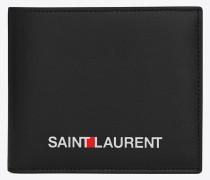 east/west portemonnaie in schwarz mit saint laurent-signaturprint.