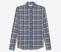 karohemd mit schmalem kragen in verwaschenem blau