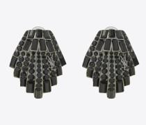 SMOKING Muschelohrringe aus Messing und schwarzem Kristall