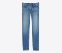 Hüft-Skinny-Jeans aus blauem Vintage-Denim mit Stickerei