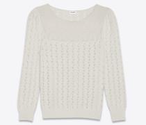 pullover aus weißem viktorianischem jacquard