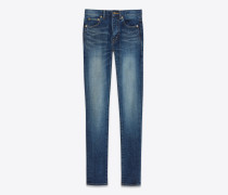eng geschnittene jeans mit mittlerer leibhöhe aus dunkelblauem vintage-denimstretch