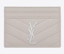 monogram saint laurent kreditkartenetui aus eisweißem matelassé-leder mit grain de poudre struktur