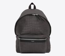 city-rucksack aus dunkel anthrazitfarbenem leder mit krokodillederprägung und schwarzem nylon