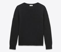 grunge pullover mit rundhalsausschnitt aus schwarzer shetland-wolle und kaschmir.