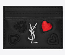 monogramme heart card case in shiny black leather