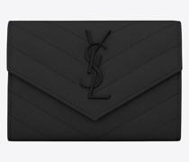 Monogram Small Envelope Wallet In Grain De Poudre Embossed Leather Schwarz