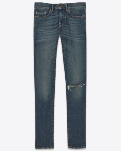Zerrissene Skinny-Jeans aus tiefblauem Stretchdenim im Vintage-Look
