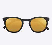 klassische 28 sonnenbrille mit glänzend schwarzem acetat-gestell und goldfarbenen verspiegelten gläsern