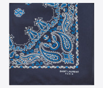 bandana square scarf in blue and white paisley printed silk