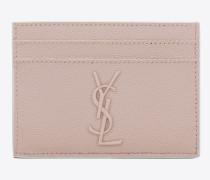 monogramme kreditkartenetui aus strukturiertem leder in pink und weiß