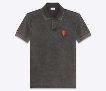 Poloshirt mit YSL-Schildpatch aus verwaschen schwarzem Baumwollpiqué