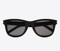 klassische 51 sonnenbrille mit glänzend schwarzem acetat-gestell und grauen gläsern