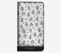 Etui für iPhone 8 aus verspiegeltem Leder mit Überschlag und Roboterprint