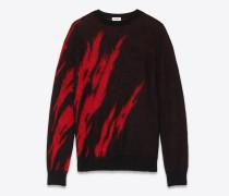 kaschmirpullover mit flammenmotiv in schwarz und rot