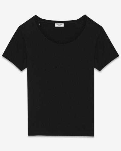 geripptes kurzarm-t-shirt aus schwarzem baumwolljersey